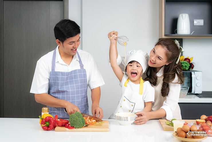 Happy Family on their Kitchen Interior Design