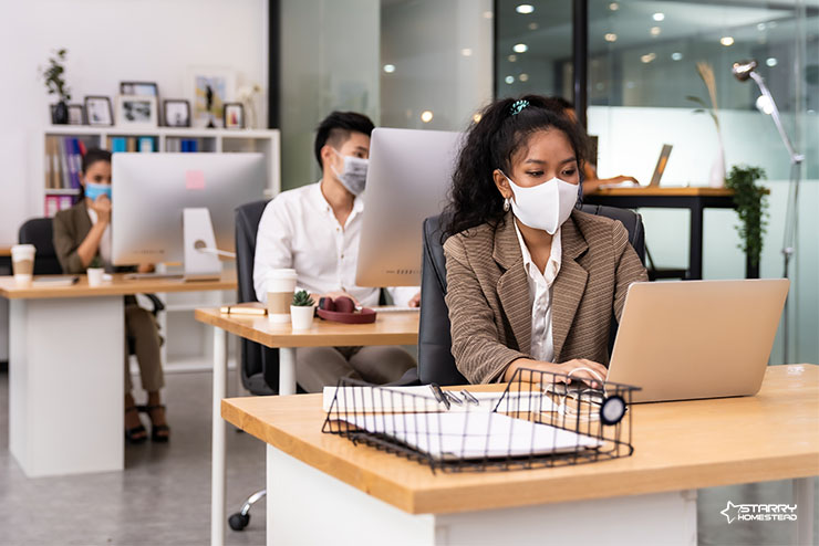 Office Workers with Social Distancing