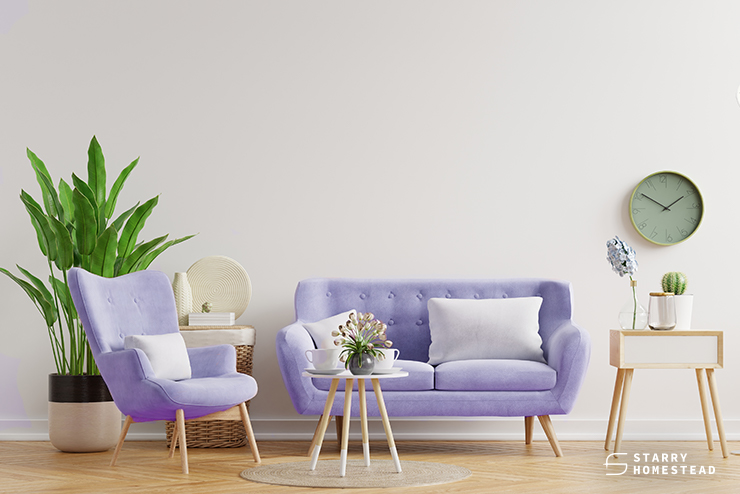lilac elements on home interior design