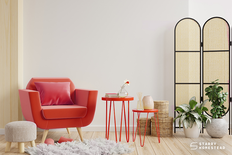 red elements on home interior design